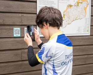 QR codes on new permament orienteering course Kinnoull, George Logan