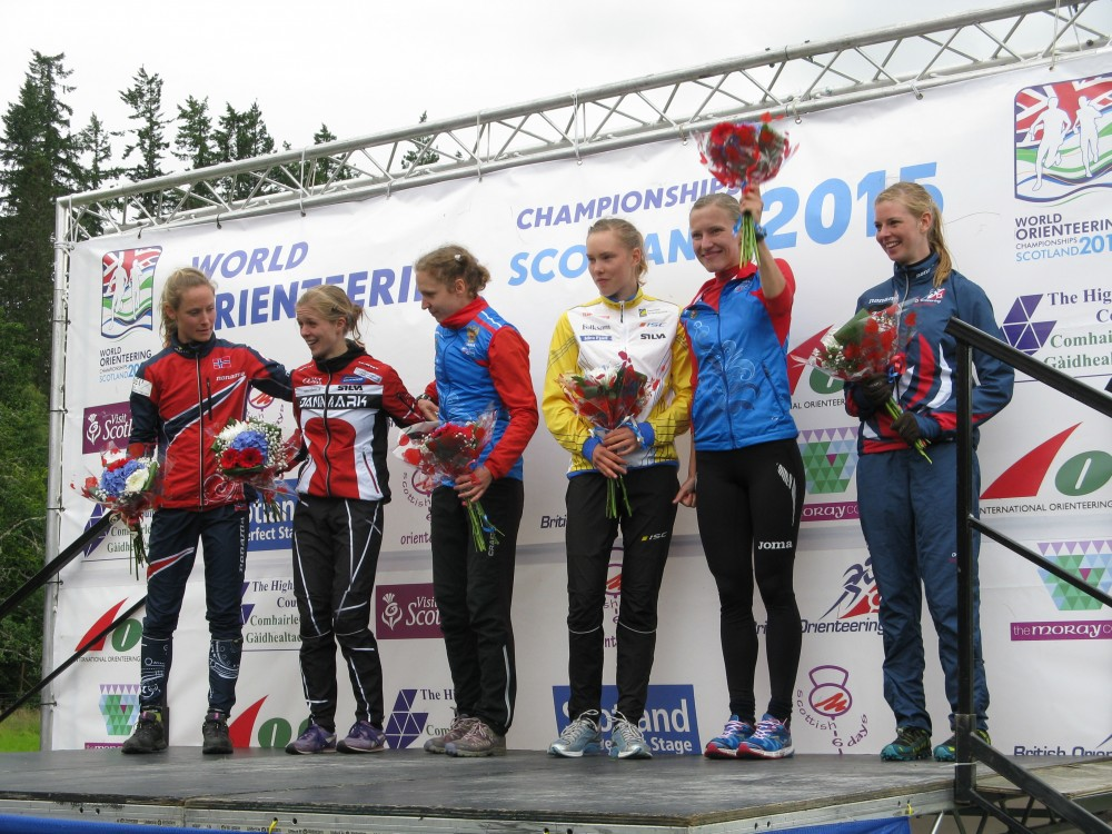 Great Britain's Cat Taylor on the podium after taking sixth place in the Women's Long race WOC2015